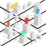 Mapa isométrico del geolocation con los edificios y los caminos Mapa de la navegación de Minimalistic Ubicación con el indicador  Foto de archivo