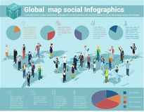 Mapa isométrico del mundo global stock de ilustración