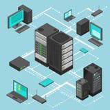 Mapa isométrico del vector de la dirección de la red de datos con los servidores, los ordenadores y el dispositivo del establecim libre illustration