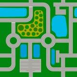 Mapa itinerario compuesto de elementos estándar Carreteras, intersecciones, cruces giratorios ilustración del vector