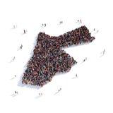 Mapa Jordania de la forma del grupo de la gente Stock de ilustración
