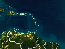Mapa Karaiby przy nocą Zdjęcie Royalty Free