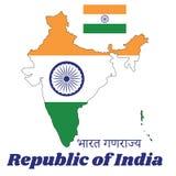 Mapa kontur i flaga India, Ja jest horyzontalny prostokątny tricolor India szafran, biały i zielony z Ashoka Chakra ilustracji