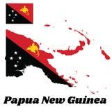 Mapa kontur i flaga Papua - nowa gwinea, trójbok jesteśmy czerwoni z strzelistym Raggiana ptakiem i trójbok jest czarny z gwiazdą ilustracji