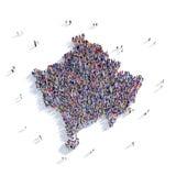Mapa Kosovo da forma do grupo dos povos Imagem de Stock Royalty Free