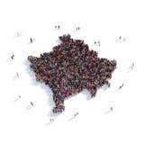Mapa Kosovo da forma do grupo dos povos Fotografia de Stock