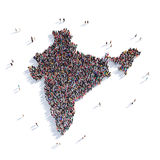 Mapa la India de la forma del grupo de la gente Foto de archivo