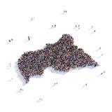 Mapa la República Centroafricana de la forma del grupo de la gente Ilustración del Vector