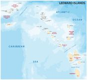 Mapa leeward wyspy, wyspa karaibska grupa Obraz Royalty Free