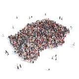 Mapa Lesoto da forma do grupo dos povos Fotos de Stock