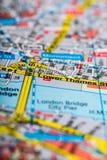 Mapa Londyński zakończenie zdjęcie stock