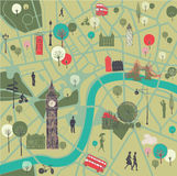 Mapa Londyn z punktami zwrotnymi Obraz Stock