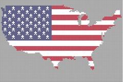 Mapa los E.E.U.U. del punto con color de la bandera Fotos de archivo