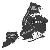 Mapa los E.E.U.U. de New York City etiquetado ejemplo negro stock de ilustración
