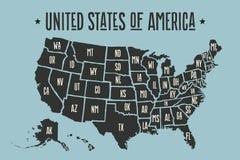 Mapa los Estados Unidos de América del cartel con nombres del estado libre illustration
