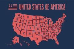 Mapa los Estados Unidos de América del cartel con nombres del estado ilustración del vector