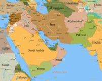 Mapa Médio Oriente - detalhado Fotografia de Stock Royalty Free