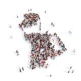 Mapa Macao de la forma del grupo de la gente Stock de ilustración