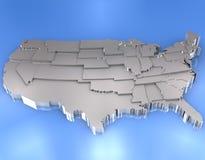 Mapa metálico dos EUA Imagens de Stock