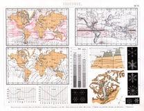 Mapa 1874 meteorológico de zonas de clima, de correntes de oceano e de outro Imagens de Stock Royalty Free