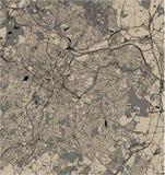 Mapa miasto Birmingham, Wolverhampton, Angielscy Midlands, Zjednoczone Królestwo, Anglia ilustracji