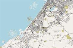 Mapa miasto Dubaj, Zjednoczone Emiraty Arabskie UAE ilustracji
