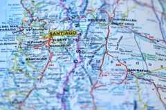 Mapa miasto Santiago, kapitał Chile fotografia stock