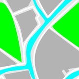 Mapa - modelo inconsútil Parque verde, río azul, caminos blancos Imagen de archivo