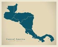 Mapa moderno - América Central com beiras do país ilustração royalty free