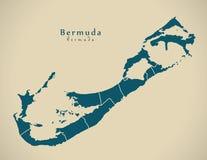 Mapa moderno - Bermuda com BM das paróquias Imagens de Stock Royalty Free