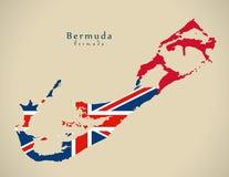 Mapa moderno - BM colorido Bermuda da bandeira Fotos de Stock Royalty Free