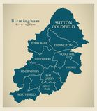 Mapa moderno da cidade - cidade de Birmingham de Inglaterra com cidades e t Fotografia de Stock Royalty Free