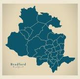 Mapa moderno da cidade - cidade de Bradford de Inglaterra com as divisões BRITÂNICAS Fotografia de Stock