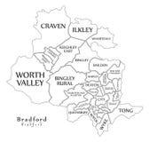 Mapa moderno da cidade - cidade de Bradford de Inglaterra com divisões e títulos Fotos de Stock Royalty Free