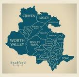 Mapa moderno da cidade - cidade de Bradford de Inglaterra com divisões e títulos Imagens de Stock