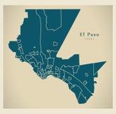 Mapa moderno da cidade - cidade de El Paso Texas dos EUA com neighborhoo Fotos de Stock Royalty Free