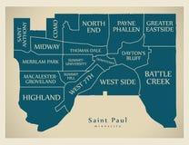 Mapa moderno da cidade - cidade de Paul Minnesota de Saint dos EUA com neig ilustração royalty free