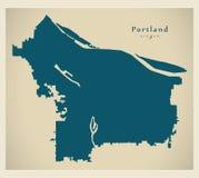 Mapa moderno de la ciudad - ciudad de Portland Oregon de los E.E.U.U. Imagen de archivo libre de regalías