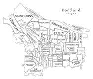 Mapa moderno de la ciudad - ciudad de Portland Oregon de los E.E.U.U. con el neighborh Imagenes de archivo