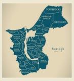 Mapa moderno de la ciudad - ciudad de Rostock de Alemania con las ciudades y el titl Fotos de archivo libres de regalías