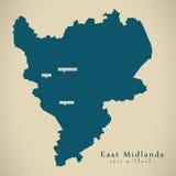 Mapa moderno - east midlands Reino Unido Inglaterra libre illustration