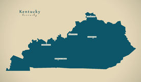 Mapa moderno - ejemplo de Kentucky los E.E.U.U. Fotos de archivo libres de regalías