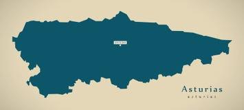 Mapa moderno - Espanha ES das Astúrias Imagens de Stock