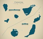 Mapa moderno - Espanha ES das Ilhas Canárias Fotos de Stock