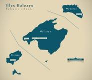 Mapa moderno - Espanha ES de Balearic Island Fotografia de Stock Royalty Free