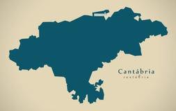 Mapa moderno - Espanha ES de Cantábria Foto de Stock Royalty Free
