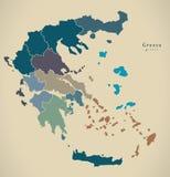 Mapa moderno - Grecia con las regiones GR Fotos de archivo libres de regalías