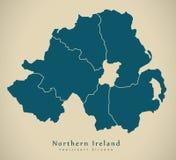 Mapa moderno - Irlanda do Norte com os condados BRITÂNICOS Imagens de Stock