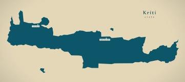 Mapa moderno - Kriti Grecia GR Foto de archivo libre de regalías