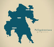 Mapa moderno - Peloponnisos Grecia GR Foto de archivo
